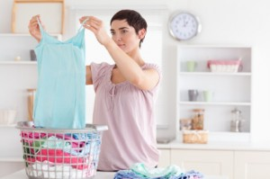 Woman folding clothes